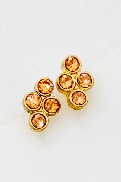 MINI PEACH RHINESTONE STUD EARRINGS