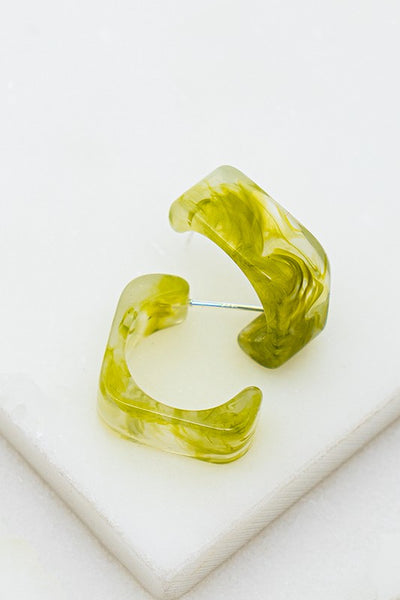 Emma Swirl Earrings - Green