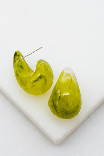 Lime Swirl Huge Earrings