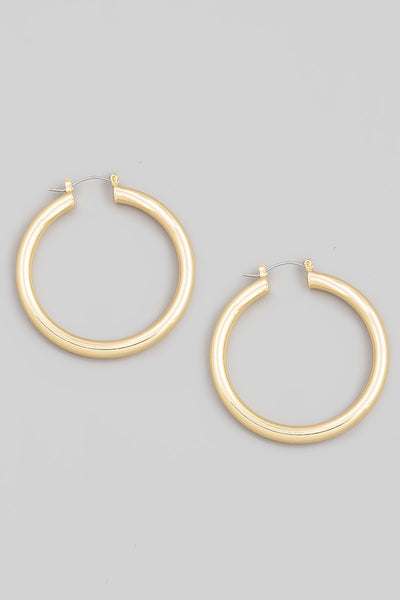 Thin Metallic Latch Hoop Earrings
