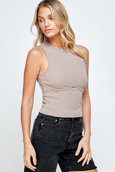 Lacey Ribbed Top- Taupe