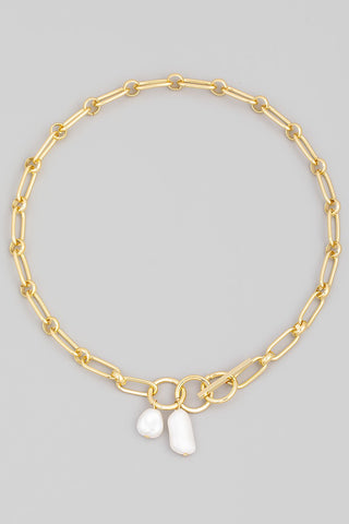 Toggle Chain Pearl Charm Necklace