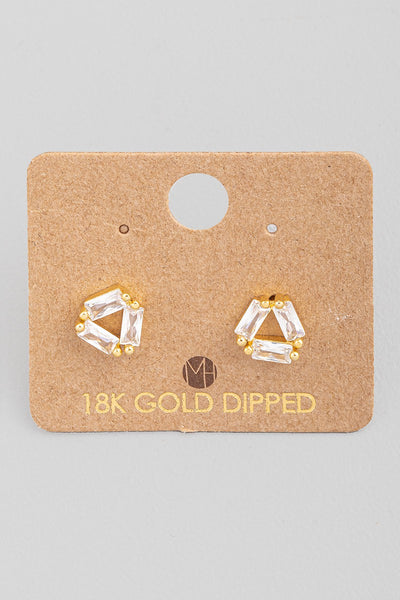 Gold Mini Baguette Rhinestone Triangle Stud Earrings