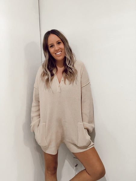 Kayla Sweater Romper - Cream