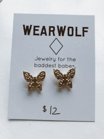 Texture Butterfly Earring - Gold