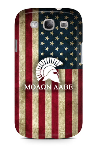 Molon Labe logo over American Flag background - Slim Phone Case - Samsung Galaxy S3