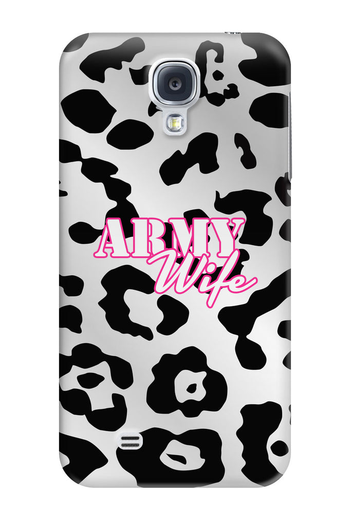 Galaxy s4 phone cases inkcases army wife text design over white and black cheetah print background slim phone case voltagebd Gallery