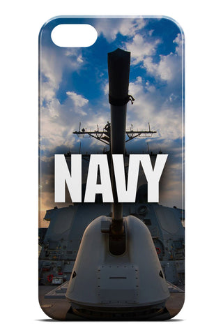 United States Navy Logo over US Navy Destroyer Gun Background - Slim Phone Case - Apple iPhone 5 / 5S