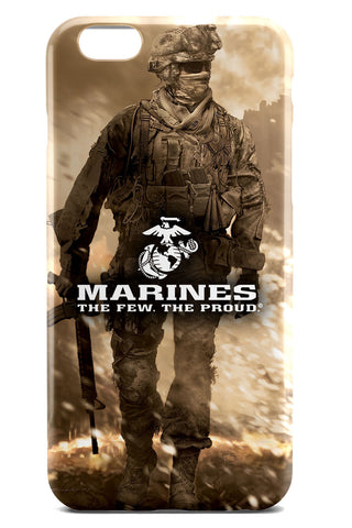 USMC / United States Marine Corps Logo over Illustrated Soldier Background - Slim Phone Case - Apple iPhone 6 / 6S