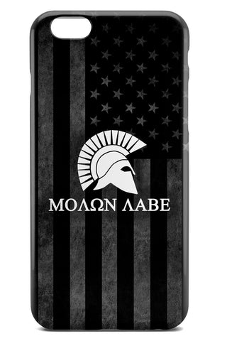 Molon Labe Spartan Logo over Grayscale American Flag Background - Tough Phone Case - Apple iPhone 6 / 6S