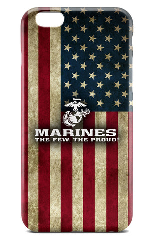 USMC / United States Marine Corps Logo over American Flag Background - Slim Phone Case - Apple iPhone 6 / 6S