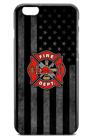Firefighter Logo over Grayscale American Flag Background - Slim Phone Case - Apple iPhone 6 / 6S