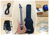 4/4 Haze 6FF Natural Oil Fanned-Fret 6-String Electric Guitar+Free Gig Bag,Strap