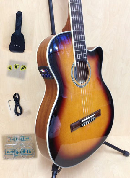 4/4 Caraya 551BCEQ/BS Thin-Body Classical Guitar w/Truss Rod,EQ,Tuner+Free Bag