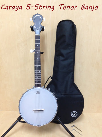 Caraya BJ-30 5-String Irish Tenor Banjo,Black Matt,Open-Back,Gloss Milky Top+Bag