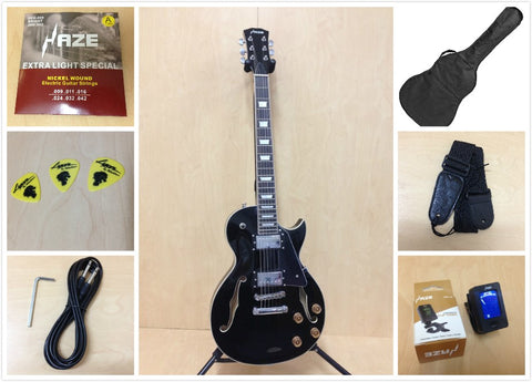 Haze 239 BK LP Style Semi-Hollow Body Electric Guitar,Black+Free Gig Bag,Picks,Strap