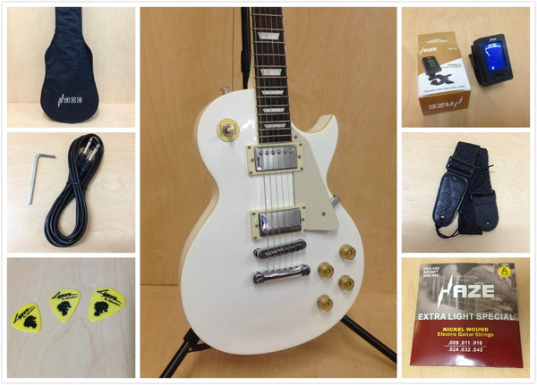 4/4 Haze 277 WH LP Style Solid Body Electric Guitar,White +Free Gig Bag,Strap