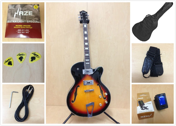 Haze 273 VS Hollow-Body Electric Guitar Tobacco Sunburst+Free gig bag,Strap,Picks