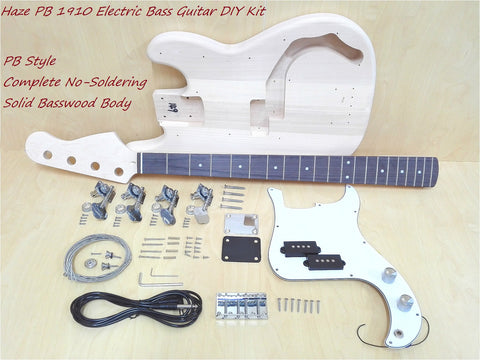 Haze PB 1910 Complete No-Soldering PB Style Electric Bass Guitar DIY,S-S Pickups