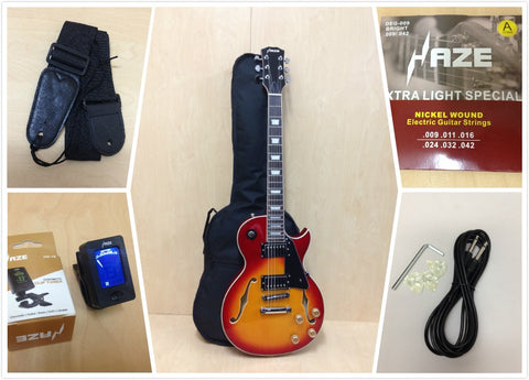 Haze 239 CS LP Style Semi-Hollow Body Electric Guitar,Cherry Sunburst+Free Gig Bag,Picks