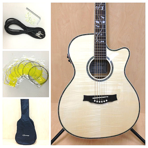 Caraya SDG-837 CEQ/N All Flame Maple Acoustic Guitar,EQ/Tuner+Free gig bag