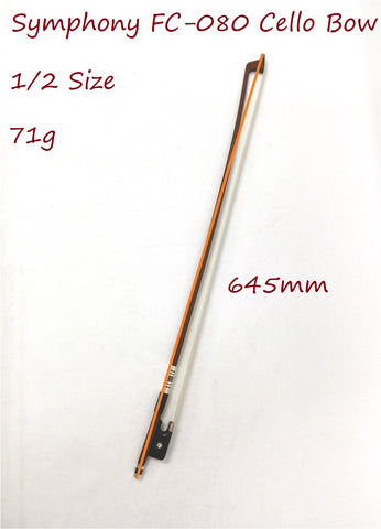 Symphony FC-080 1/2 Size Cello Bow–Brazil-wood, Round Stick, Real Horse Hair