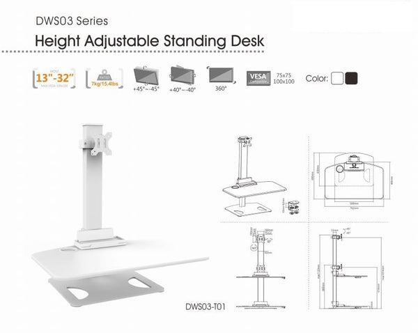 Height Adjustable Stand Desk with Single Display Mount or Clamp DWS03-T01WH