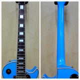 Haze 338 ABL All Mahogany LP Electric Guitar,Metallic Light Blue, HHH Pickups+Bag