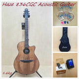 Haze 836 CGC Acoustic/Classical Guitar,Spalted Maple Veneer,Round-Back+Free Bag