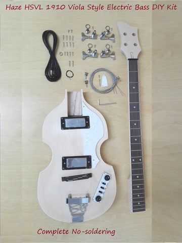 Haze HSVL 1910 Viola Style Electric Bass Guitar DIY Kit,No-Soldering,H-H Pickups