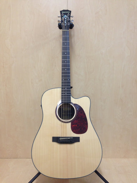 Maestro 07CEQ Solid Spruce/Mahogany Electric-Acoustic Guitar,Cutaway,EQ+Free Bag