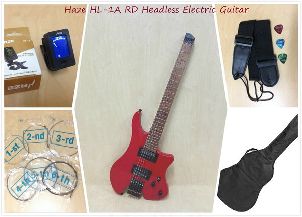 Haze Light-Weight Headless Electric Guitar,HH,Solid Body,Red+Free Bag HZHL-1A RD