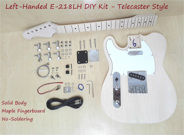 Left-Handed E-218LH DIY Solid Body TL Style Electric Guitar DIY Kit,No-Soldering