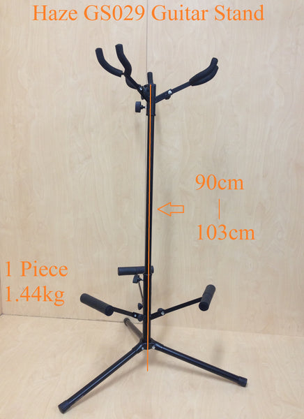 Two (x2) Fully Collapsible Haze GS029 Metal-Rubber Structure,Tripod-Base 3-Guitar Stands