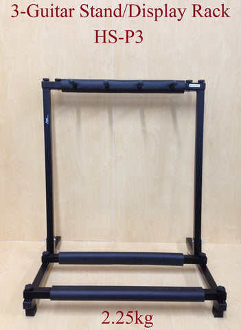 Haze HS-P3 Metal Structure 3-Guitar-Stand/Storage & Display Rack,Foldable, Black
