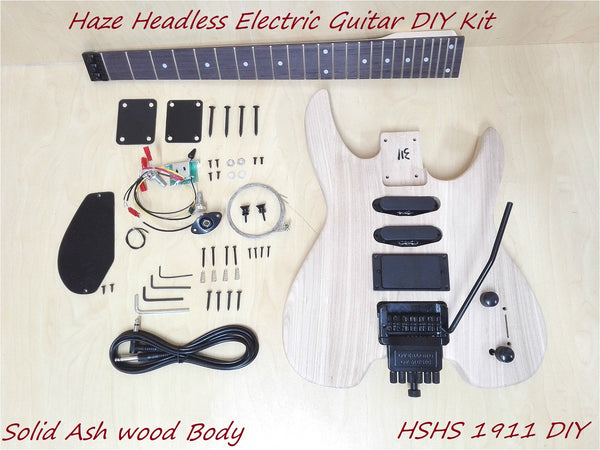 Haze Headless Solid Ashwood Body Electric Guitar HS 1911 DIY,S-S-H,No-Soldering
