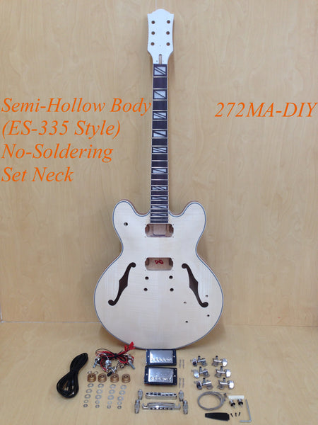 Complete No-Solder E-272MA-DIY Semi-Hollow Body Electric Guitar DIY Kit,Set Neck