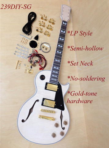 239DIY-SG LP Electric Guitar DIY Kit. No-Solder,Semi-Hollow Body,Golden Hardware