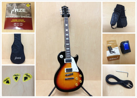 4/4 Haze 277 BS LP Style Solid Body Electric Guitar,Sunburst +Free Gig Bag,Strap