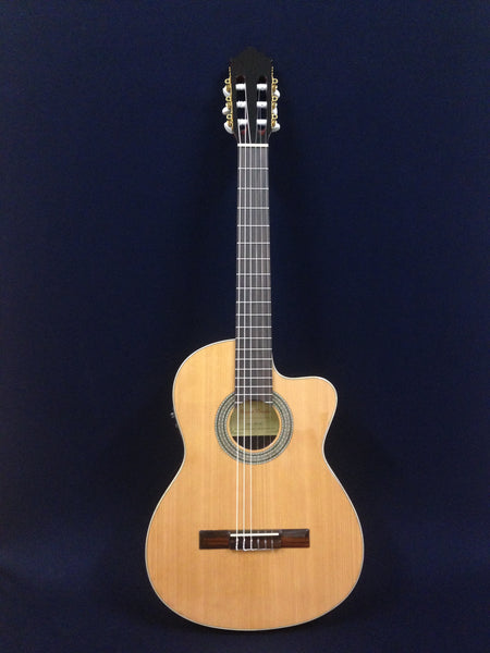 Miguel Rosales C-3BCEQ/CR Solid Cedar Top Thin-body Classical Guitar,Fishman EQ