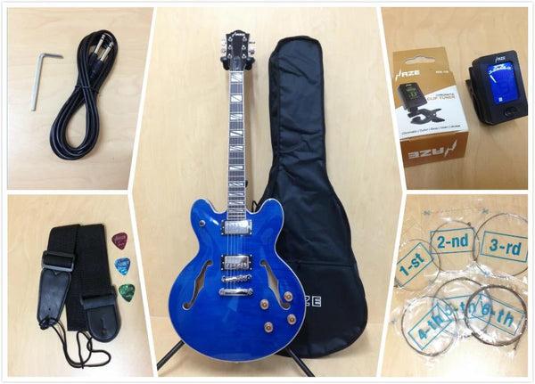 Haze 272 TBL Ocean Blue Flame,Semi-Hollow Body Electric Guitar+Free Gig Bag,Picks