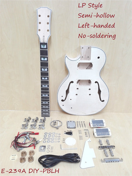 Left-Handed Semi-Hollow LP Style Electric Guitar DIY,No-Soldering 239A DIY-PBLH