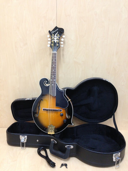 Caraya MA-007EQ F-Style Mandolin,Dark Sunburst, w/EQ+Lockable Hard Case,3 Picks