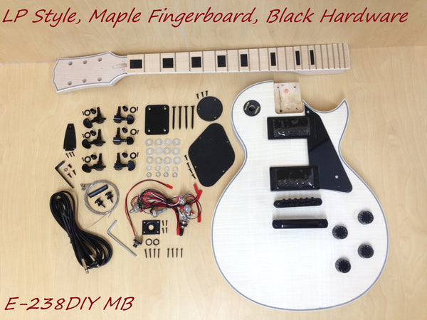 LP Electric Guitar DIY Kit,No-Soldering,All Maple Neck,Black Hardware 238DIY MB