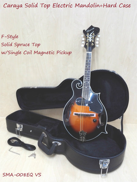 Caraya 008EQVS F-Style Solid Top Electric-Mandolin,Vintage Sunburst+Hard Case