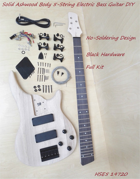 E5 19720 Solid Ashwood Body 5-String Bass Electric Guitar DIY,No-Soldering,H-H