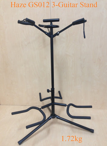 Durable Haze GS012 Metal-Rubber Structure,Tripod-Base 3-Guitar Stands,Black