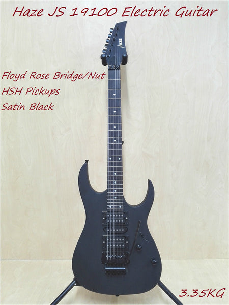 Haze JS 19100 Electric Guitar,Floyd Rose Bridge/Nut,HSH Pickups,Satin Black+Bag
