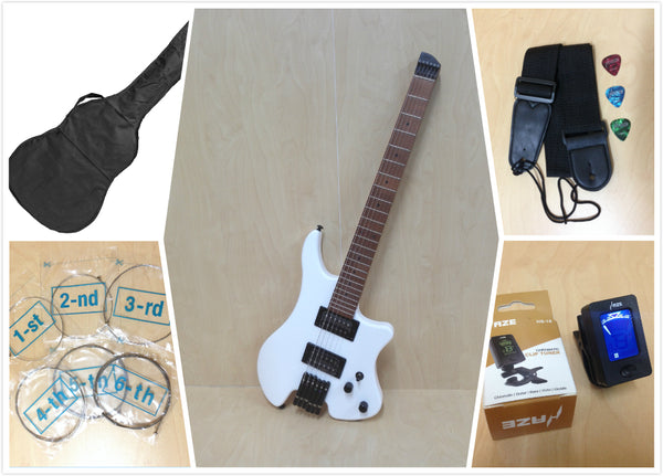 Haze Light-Weight Headless Electric Guitar,HH,Solid Body,White+Free Bag HZHL-1A WH