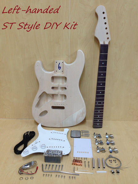4/4 Left-Handed No-Soldering ST Style Electric Guitar DIY Kit,SSS E-200LH DIY